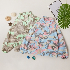 Trendy Camouflage Stand Collar Coats