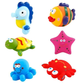 6-pcs Baby Bath Toys Squeeze Float Animals Bathroom Swimming Water Toys  Early Educational