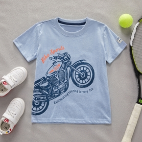Motorcycle Letter Print Athleisure Tee for Toddlers / Kids