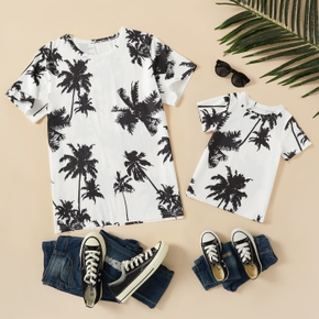 Coconut Tree Print Short Sleeve T-shirts for Daddy and Me