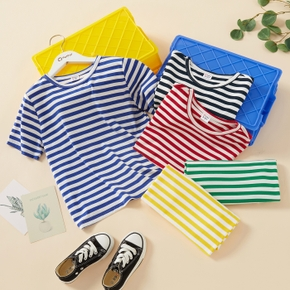 Trendy Kid Boy/Kid Girl Casual Stripes T-shirt