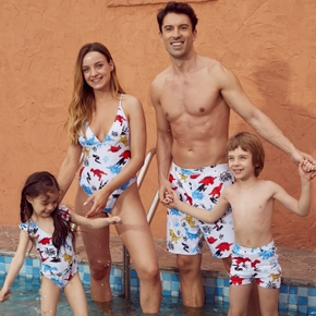 Cute Cartoon Dinosaur Print Family Matching Swimsuits