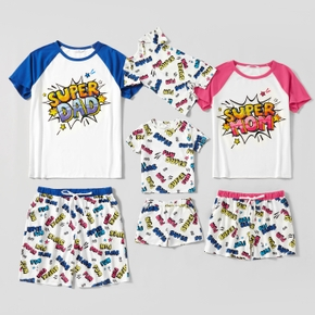 Family Funny Letter Print Raglan Sleeve Top and Shorts Matching Pajamas Set(Flame Resistant)