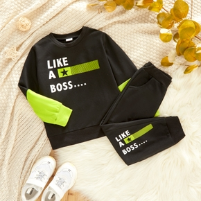 2-piece Toddler Boy Letter Print Colorblock Pullover and Pants with Pocket Set