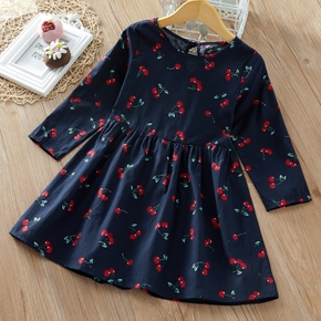 Baby / Toddler Girl Cherry Print Long-sleeve Dress