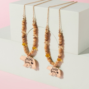 Bear Pendant Coconut Shell Necklaces for Mommy and Me