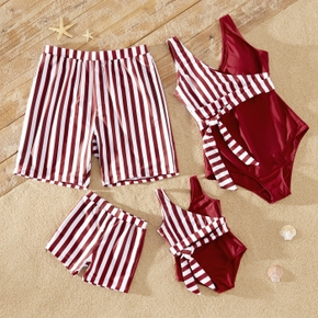 Family Look Striped Stitching Solid One-piece Matching Swimsuits