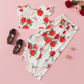 Trendy Kid Girl Rose Floral Flounced Casual Suits