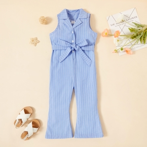 Toddler Girl Striped Lapel Collar Button Design Sleeveless Flared Jumpsuit with Belt