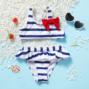 2-piece Toddler Girl Stripe Bowknot Camisole and Briefs Swimsuit
