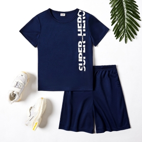 Letter Print Tee and Solid Shorts Athlesure Set for Toddlers / Kids