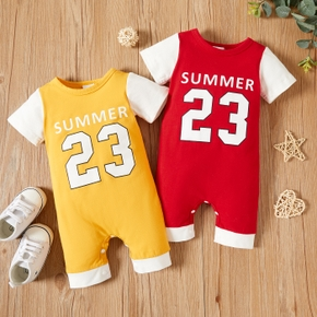 Letter and Number Print Color Block Baby Jumpsuit