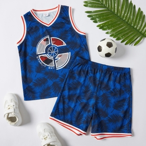 Leaf and Basketball Print Tank Top and Shorts Athleisure Set for Toddlers/Kids