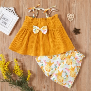 2-piece Baby / Toddler Girl Bowknot Camisole and Print Shorts Set