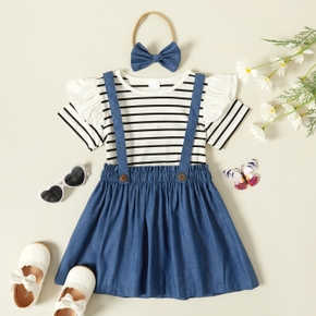 3-piece Baby / Toddler Girl Striped Top and Solid Skirt with Headband Set