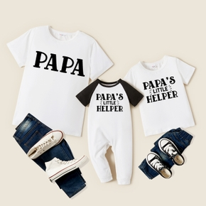 Letter Print Short Sleeve T-shirts for Daddy and Me