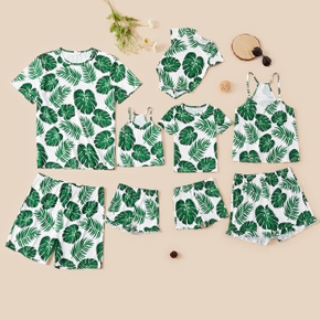 Leaves Print Family Matching Pajamas Sets(Flame resistant)