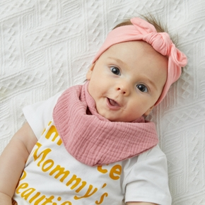 Baby Bibs Double Layer Cute Cotton Infant Saliva Bibs Towel Infant Stuff Triangle Scarf Solid Color Baby Yarn Bib