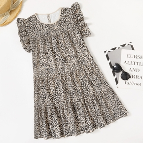 Round collar Leopard Khaki Normal shoulder A Midi Dress