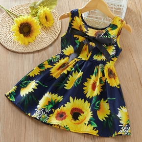Baby / Toddler Girl Sunflower Print Bowknot Sleeveless Dress