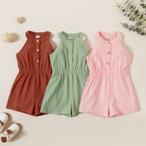 Toddler Girl  Comfortable Solid Sleeveless Jumpsuits