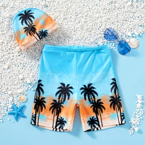 Kids Boy Coconut Tree Print Beach Shorts with Hat Swimsuit