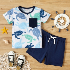 Toddler Boy Cute Tortoise Print Short-sleeve top With Pocket And Tie Shorts