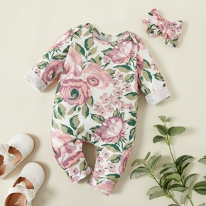 2pcs Floral Allover Long-sleeve Baby Set