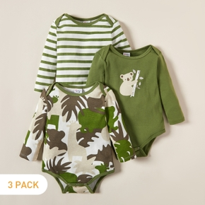 3-pack Baby Koala Striped Rompers Set