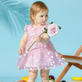 1pc Cotton Sleeveless Baby Girl Floral Sweet Dress