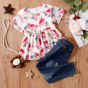 2-piece Baby/Toddler Floral Short-sleeve Top and Denim Trouser