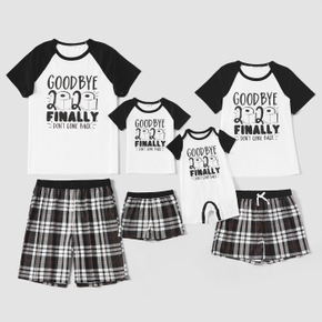 Letter and Plaid Print Family Matching Black and White Pajamas Sets