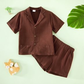 2-piece Lapel Collar V Neck Button Design Short-sleeve Solid Shirt with Pocket and Elasticized Pants Set