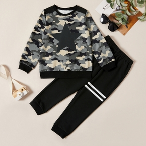 Trendy Stars Camouflage Sweatshirt and Striped Pants Set