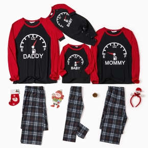 Family Matching Letter Print Plaid Christmas Pajamas Sets (Flame Resistant)