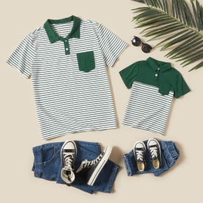 Stripe Print Short Sleeve Shirts for Dad and Me