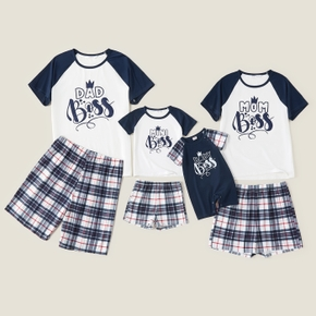 Mosaic Letter and Plaid Print Color Block Family Matching Sets(Flame Resistant)