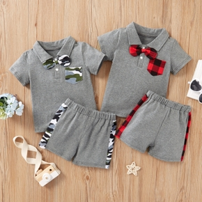 2-piece Baby/Toddler Boy Bow Plaid Top and Shorts Set