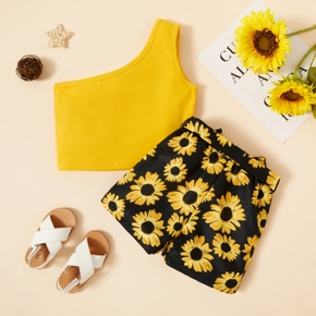 2-piece Toddler Girl Camisole and Sunflower Print Shorts Set
