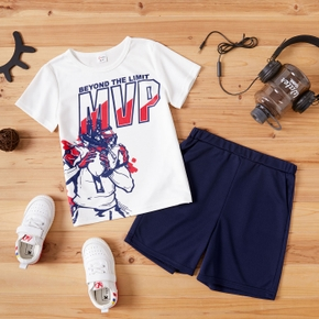 Letter and Rugby Print Tee and Shorts Athleisure Set for Toddlers/Kids