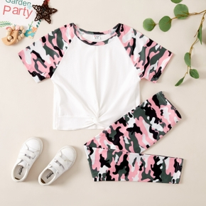 Camouflage Print Tee and Pants Athleisure Set for Toddlers/Kids