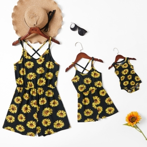 Sunflower Print Matching Black Sling Rompers(Cross Back Rompers for Mom and Girl - Baby Rompers)