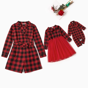 Black and Red Plaid Long-sleeve Matching Shirt Shorts Romper and Dress