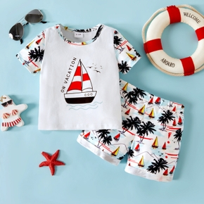 2pcs Baby Boy Short-sleeve Sailboat Floral Print Polyester & Cotton Baby's Sets