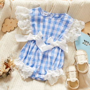 Baby Plaid Print Bow Lace Flutter-sleeve Romper