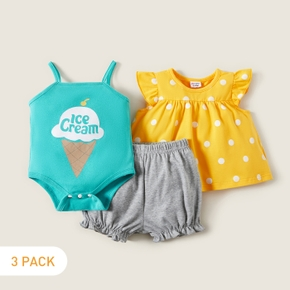 Fashionable Baby Girl 3-piece Letter Polka dots Ice cream Print Cotton Shorts Sets