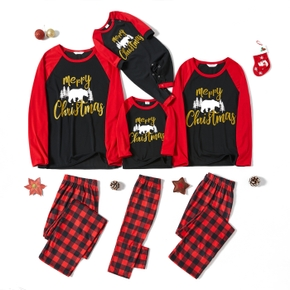 Family Matching Bear Print Plaid Christmas Pajamas Sets (Flame Resistant)