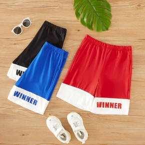 Kid Boy Letter Print Colorblock Elasticized Casual Sporty Shorts with Pocket
