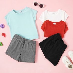 Multi Color Solid Top and Shorts Athleisure Set for Toddlers / Kids