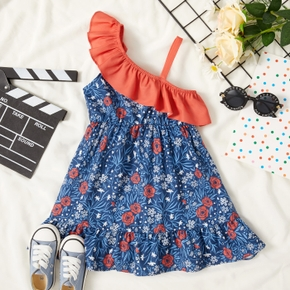 Toddler Girl Floral Print Ruffle Collar One Shoulder Strappy Dress